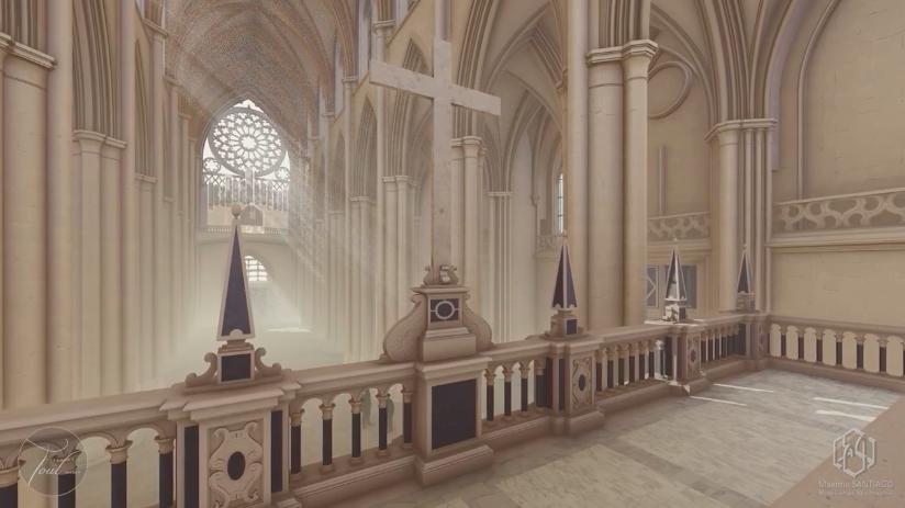 Une image contenant intérieur, bâtiment, autel, colonnade  Description générée automatiquement